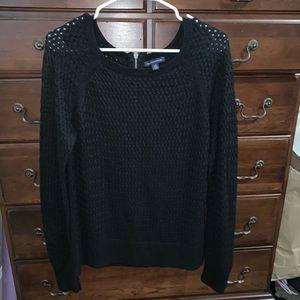 American Eagle Black Crochet Sweater